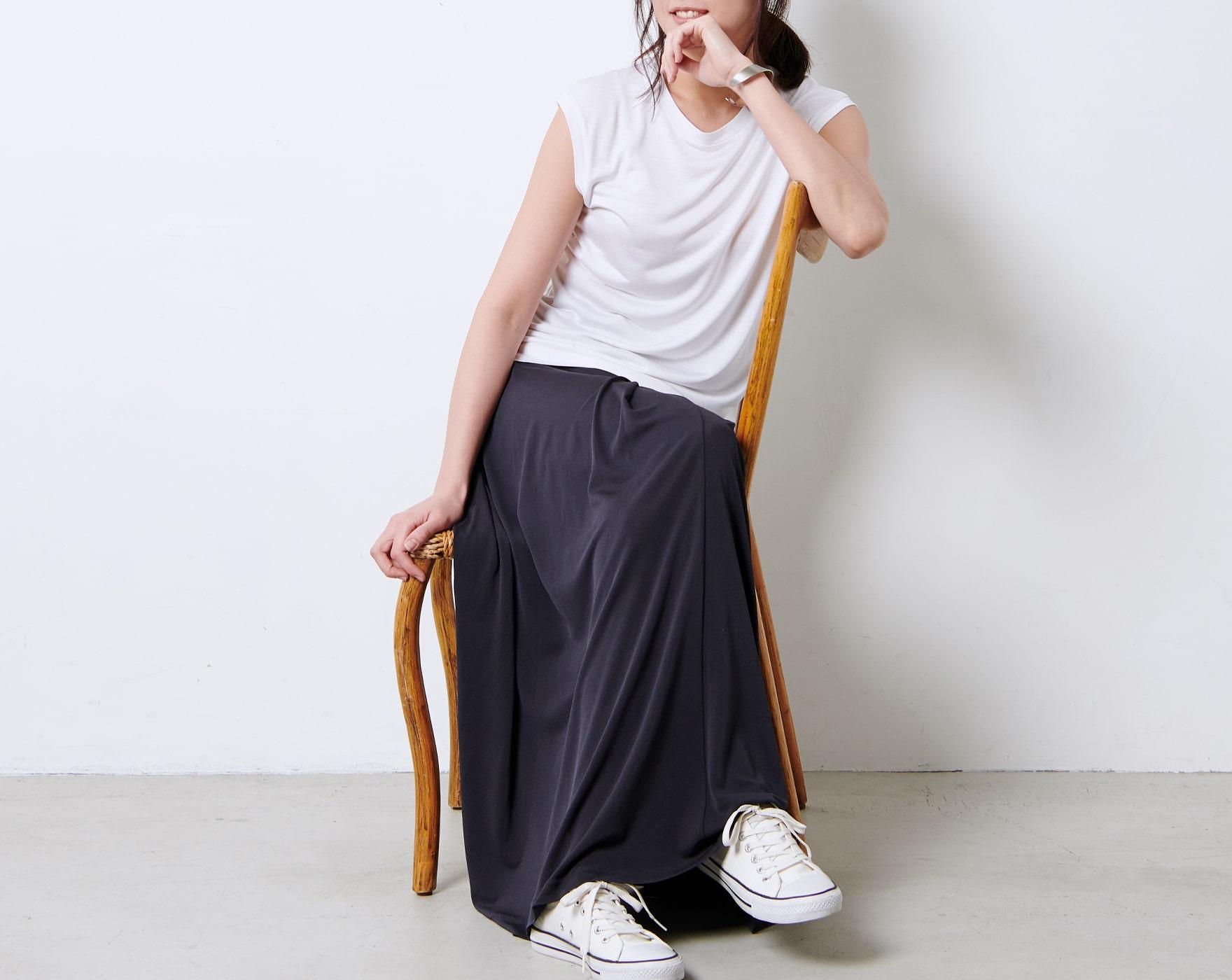 カットソー/強撚シルクロングスカート