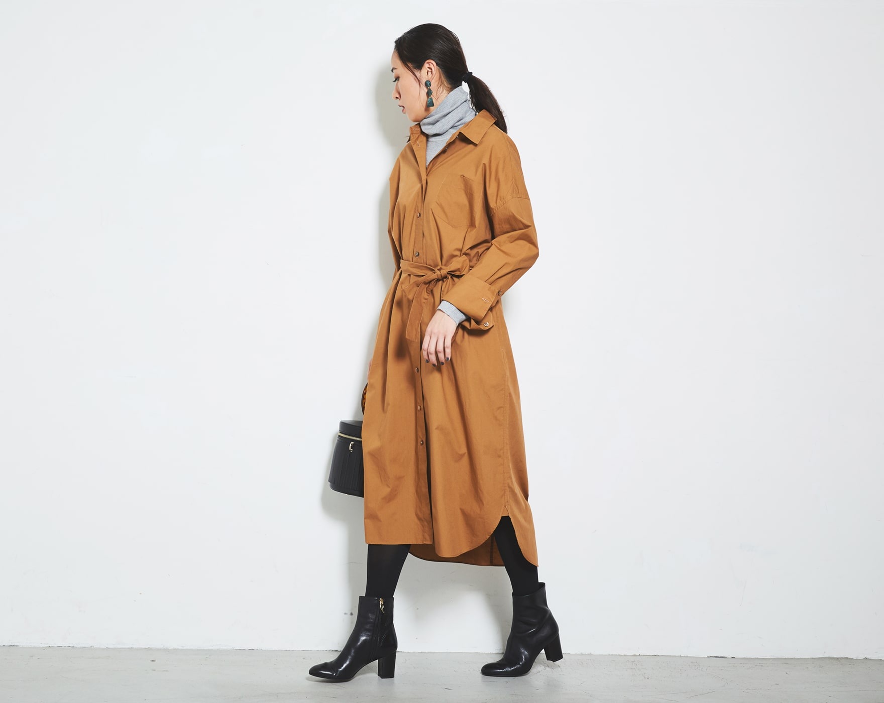 セーター/シルクウール リブタートルネック